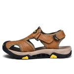 Matte Leather Wear-resistant Outdoor Casual Beach Sandals for Men (Color:Brown Size:45)