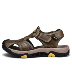 Matte Leather Wear-resistant Outdoor Casual Beach Sandals for Men (Color:Khaki Size:42)