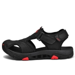 Matte Leather Wear-resistant Outdoor Casual Beach Sandals for Men (Color:Black Size:46)