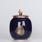 Indigo Glaze Large Tea Pot Ceramic Tea Pot Home Retro Sealed Cans Small Jar Tea Box (Gold Leaf)