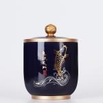Indigo Glaze Large Tea Pot Ceramic Tea Pot Home Retro Sealed Cans Small Jar Tea Box (Fish)