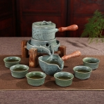 Retro Time To Run Stone Mill Automatic Tea Set Ceramic Kiln High-grade Kungfu Tea Set Gift Box with 6 Cups (Kiln)
