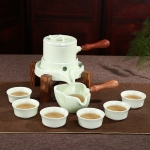 Retro Time To Run Stone Mill Automatic Tea Set Ceramic Kiln High-grade Kungfu Tea Set Gift Box with 6 Cups (Celadon)