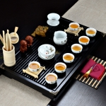 4 in 1 Kung Fu Tea Set High White Porcelain Tea Table with Tea Tray & 6 Tea Cups (Success)
