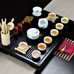 4 in 1 Kung Fu Tea Set High White Porcelain Tea Table with Tea Tray & 6 Tea Cups (Ink Landscape)