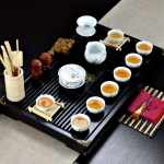 4 in 1 Kung Fu Tea Set High White Porcelain Tea Table with Tea Tray & 6 Tea Cups (Good Luck)