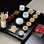 4 in 1 Kung Fu Tea Set High White Porcelain Tea Table with Tea Tray & 6 Tea Cups (Sanskrit)
