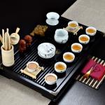 4 in 1 Kung Fu Tea Set High White Porcelain Tea Table with Tea Tray & 6 Tea Cups (Sanskrit)