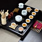 4 in 1 Kung Fu Tea Set High White Porcelain Tea Table with Tea Tray & 6 Tea Cups (Lotus)