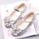 Fashion Sequins Lightweight Princess Shoes Student Dance Shoes (Color:Silver Size:37)