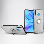 Magnetic 360 Degrees Rotation Ring Armor Phone Protective Case for Huwei P30 Lite / Nova 4e (Silver)