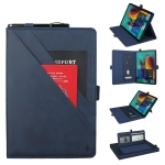 Horizontal Flip Double Bracket Leather Case for Galaxy Tab S 5E 10.5 / T720 / T725, with Card Slots & Photo Frame & Pen Slot (Blue)