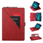 Horizontal Flip Double bracket Leather Case for Huawei Mediapad M6 10.8, with Card Slots & Photo Frame & Pen Slot (Red)