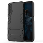Shockproof PC + TPU Case for Huawei Honor 20, with Holder (Black)