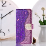 Laser Glitter Powder Matching Crocodile Texture Horizontal Flip Leather Case for Galaxy M20, with Card Slots & Holder (Purple)