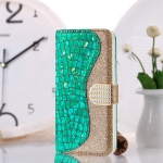 Laser Glitter Powder Matching Crocodile Texture Horizontal Flip Leather Case for Galaxy M30, with Card Slots & Holder (Green)