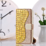 Laser Glitter Powder Matching Crocodile Texture Horizontal Flip Leather Case for Galaxy M30, with Card Slots & Holder (Gold)