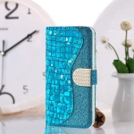 Laser Glitter Powder Matching Crocodile Texture Horizontal Flip Leather Case for Galaxy M30, with Card Slots & Holder (Blue)