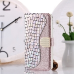 Laser Glitter Powder Matching Crocodile Texture Horizontal Flip Leather Case for Galaxy S10 5G, with Card Slots & Holder (Silver)
