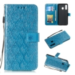 Pressed Printing Rattan Flower Pattern Horizontal Flip PU Leather Case for Galaxy A20 / A30 / A50, with Holder & Card Slots & Wallet & Photo Frame (Blue)
