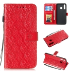Pressed Printing Rattan Flower Pattern Horizontal Flip PU Leather Case for Galaxy A20 / A30 / A50, with Holder & Card Slots & Wallet & Photo Frame (Red)