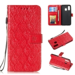 Pressed Printing Rattan Flower Pattern Horizontal Flip PU Leather Case for Galaxy A40, with Holder & Card Slots & Wallet & Photo Frame (Red)