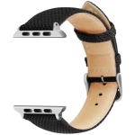Simple Fashion Nylon Fireproof Leather Wrist Strap Watchband for Apple Watch Series 4 & 3 & 2 & 1 38mm & 40mm (Black)