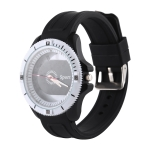 Classic Round Style Quartz Sports Watch with Silicone Band (Black)