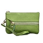 MaDonNo 2001 Horizontal Square Litchi Texture Wallet Clutch Bag for Ladies, with Detachable Hand Strap & 6 Key Rings(Green)