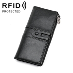 MaDonNo 3520 Long Cowhide Leather Folding Anti-magnetic RFID Wallet for Ladies, with Card Slots (Black)