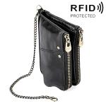 MaDonNo LT3533 Long Crazy Horse Texture Cowhide Leather Folding Anti-magnetic RFID Wallet Clutch Bag for Men, with Card Slots & Shoulder Strap(Black)