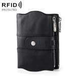 MaDonNo 3539 Cowhide Leather Zipper Buckle Anti-magnetic RFID Wallet Clutch Bag for Men, with Card Slots (Black)