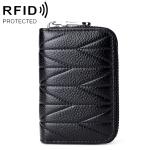 MaDonNo KB191 Zipper Cowhide Leather Organ Shape Multiple Card Slots Anti-magnetic RFID Wallet Clutch Bag for Ladies (Black)