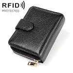 KB192 Buckle Zipper Cowhide Leather Organ Shape Multiple Card Slots Anti-magnetic RFID Wallet Clutch Bag for Men(Black)