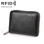 KB195 Zipper Cowhide Leather Double Row Organ Shape Multiple Card Slots Anti-magnetic RFID Wallet Clutch Bag for Ladies(Black)