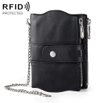 MaDonNo LT3539 Cowhide Leather Zipper Buckle Anti-magnetic RFID Wallet Clutch Bag for Men, with Card Slots & Shoulder Strap (Black)