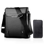 WEIXIER 18067 2 In 1 Men Leisure Style PU Leather Single Shoulder Bag with Handbag (Black)