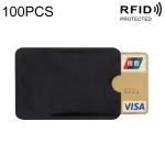 100 PCS Aluminum Foil RFID Blocking Credit Card ID Bank Card Case Card Holder Cover, Size: 9 x 6.3cm (Black)