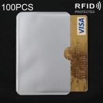 100 PCS Aluminum Foil RFID Blocking Credit Card ID Bank Card Case Card Holder Cover, Size: 9.3 x 6cm (Silver)