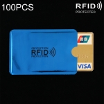 100 PCS Aluminum Foil RFID Blocking Credit Card ID Bank Card Case Card Holder Cover, Size: 9 x 6.3cm (Blue)