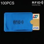 100 PCS Aluminum Foil RFID Blocking Credit Card ID Bank Card Case Card Holder Cover, Size: 9 x 6.3cm (Blue)