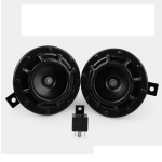 2 PCS AH001 12V Car Electric Horn Super Loud Blast Tone Grill Mount with Relay (Black)