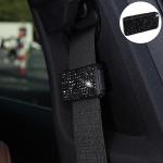 Car Seat Belts Crystal Clip Fixer Tightening Regulator (Black)
