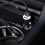 Car Diamond Aluminium Alloy Dual USB Safety Hammer Quick Charger (Black)
