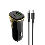 hoco Z31A 18W 3.4A Portable PD + QC3.0 Car Charger with 8 Pin Charging Cable (Black)