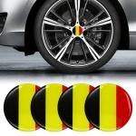 4 PCS Car-Styling Belgian Flag Pattern Metal Wheel Hub Decorative Sticker, Diameter: 5.8cm