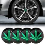 4 PCS Car-Styling Green Leaves Pattern Metal Wheel Hub Decorative Sticker, Diameter: 5.8cm