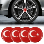 4 PCS Car-Styling Turkish Flag Pattern Metal Wheel Hub Decorative Sticker, Diameter: 5.8cm