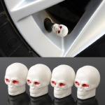 4 PCS White Skull Shape Gas Cap Mouthpiece Cover Tire Cap Car Tire Valve Caps