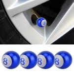 4 PCS Ball Number 8 Gas Cap Mouthpiece Cover Tire Cap Car Tire Valve Caps (Blue)